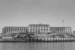 Photo of San Quentin State Prison. Shot on Kodak TMAX 400 (TMY-2) B&W Film with a Fujica GW690 medium format (6x9) camera. Developed with Kodak D-76 (1:1) at 68 degrees for 9.5 minutes. Fixed with Kodak Fixer for 15 minutes. Digitized with a Canon Canoscan 9000F MkII scanner at 9600 dpi, then processed in Adobe Photoshop and scaled down to 4800 dpi. Finished in Adobe Lightroom CC.